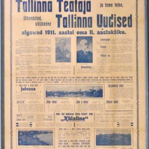 """PlakatTallinna Teataja-Tallinna Uudised""""1911a."""""""