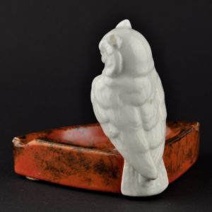 Porcelain ashtray owl figure