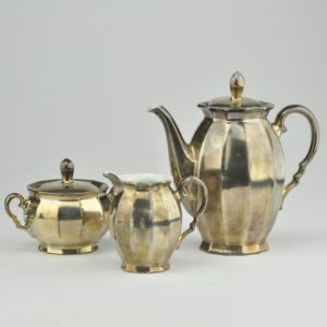 Porcelain silver coffee pot, cream pitcher, sugar boul Bavaria