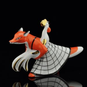 "Porcelain figure ""Fox and Rooster"" Dmitrovsky VERBILKI Russia 1965-91"