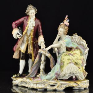 Porcelain figure Man and woman talking '