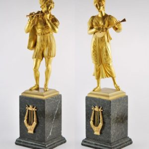 Pair of Antique 19th century bronze figures