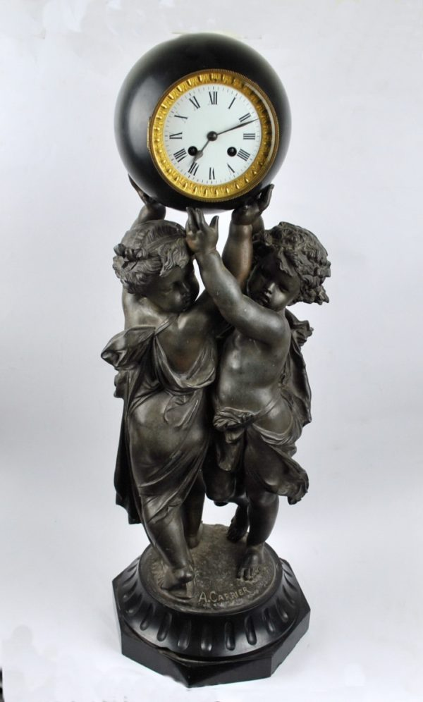 Bronze table clock with angels