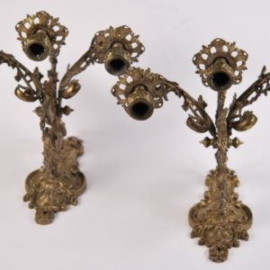 Antique bronze wall lights, 2 pieces