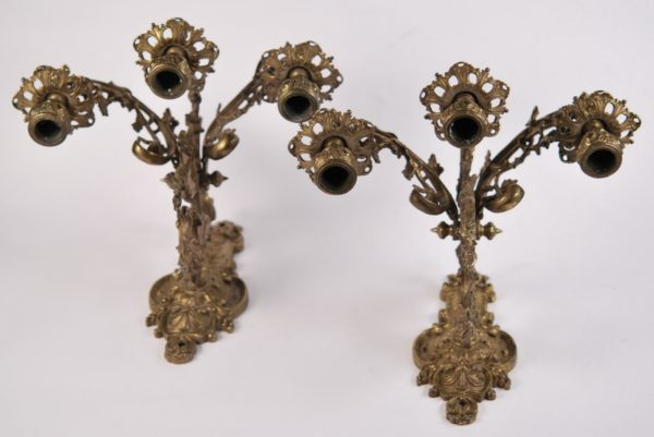 Antique bronze wall lights, 2 pieces