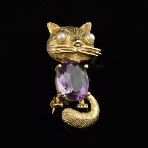 Pross - Kass - kuld 14 karaati, ametüst ja pärlid