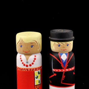 Wooden salt cellar, the people of Estonia clothes 2pc