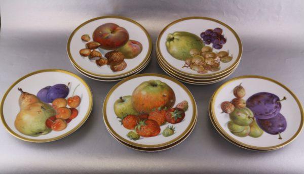 Puuviljadega portselan taldrikud 4 tk 1930a. Saksa