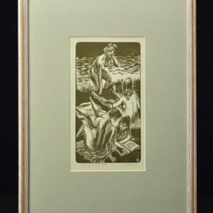 """Richard Kaljo (1914-1978) puugravüür """"Puhkajad""""1961a"""