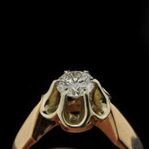 Ring - 583 gold, 0.63 ct diamond SOLD