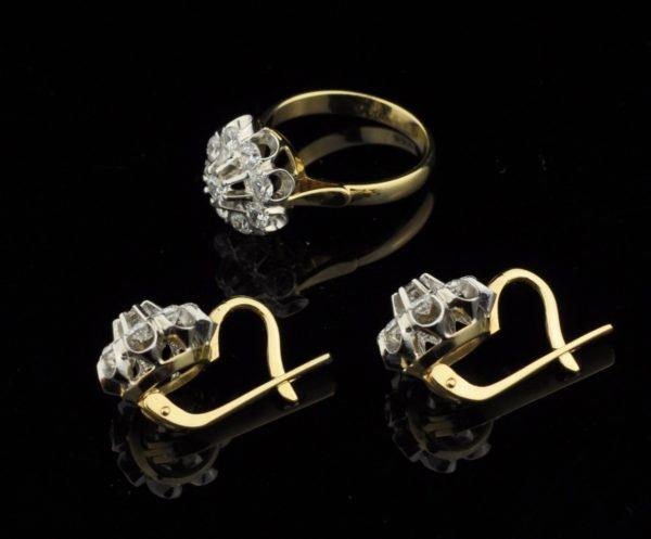 Sõrmus ja kõrvarõngad, 585 kuld, fianiidid