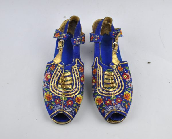 Blue embroidered shoes