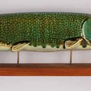 Big porcelain pike figure on a stand , 53cm