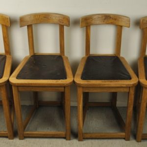 4 chairs, oak, leather