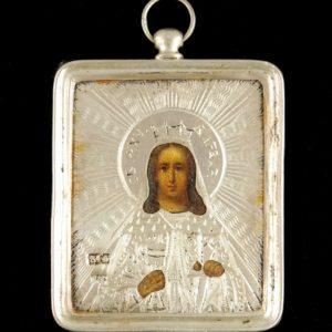"""Tsaari-Vene väike ikoon """" Püha Varvaara""""hõbe plaat  84 proov"""