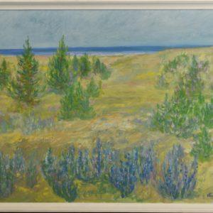 "Väino Paris (1921-2001) oil painting ""Coastal Landscape"" 1990a"