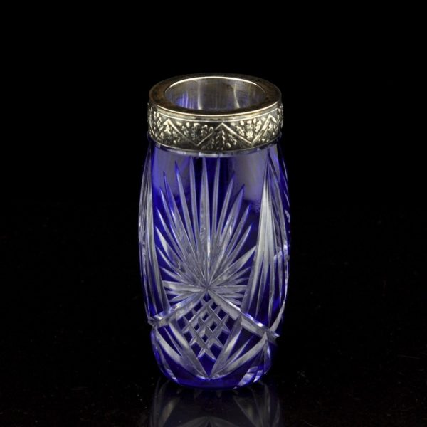 Vanaaegne koobaltsinine kristallvaas, hõbe serv 875 prooviga