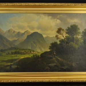 Antique painting The Mountain
