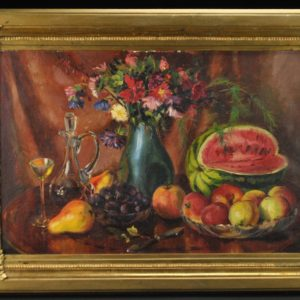 antique painting, still life with apples and watermelons