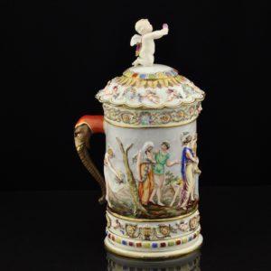 """Vanaaegne portselanist tops kaanegaCapo Di Monte"""" 1890a, ingel restaureeritud"""""""