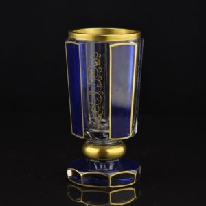 Antigue blue glass with gold