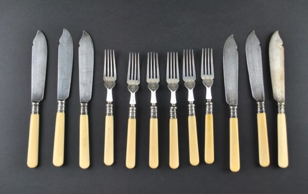 Old fish six forks and six knives