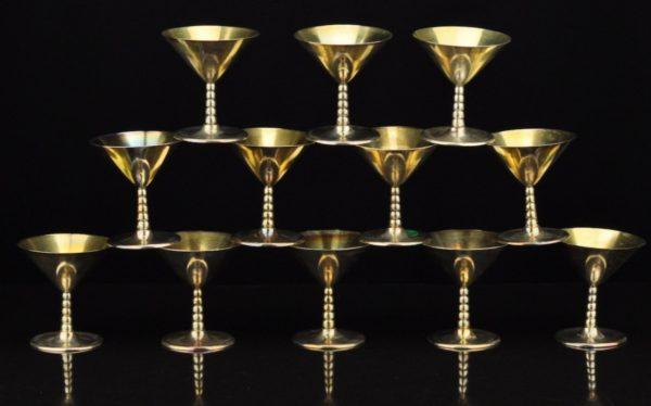 Antique silver cocktail glasses 12 pieces., Sweden 1948 a