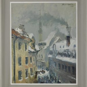 "Viktor Karrus (1913-1991) oil painting ""Tallinn Old Town"" 1946 y SOLD"