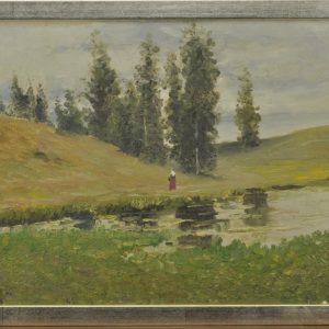 Oil painting Scenery with a woman with a red skirt 1917 a, two-sided