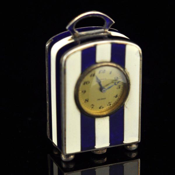 Art Deco miniatuur emailiga hõbe kell - Ateliers Juvenia, Pariis