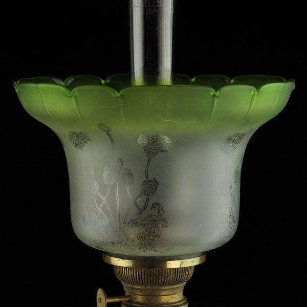 Antiik õlilamp,roheline kuppel