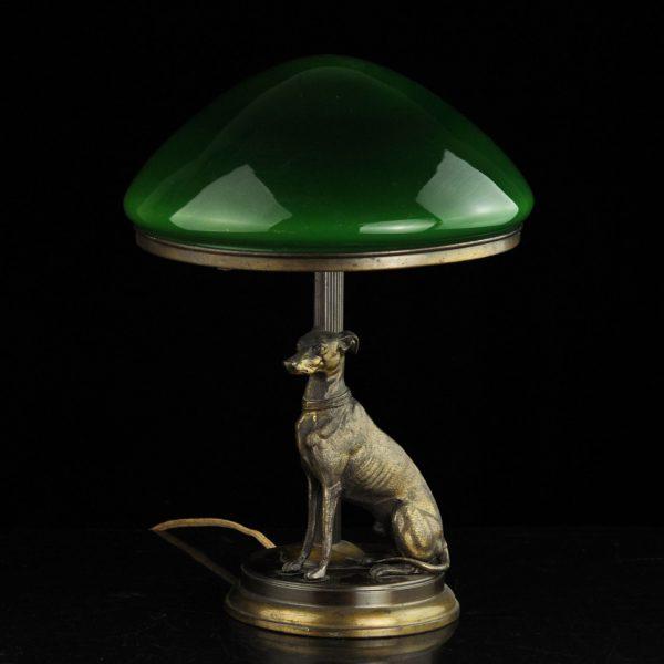 Laualamp koerakujuga,roheline kuppel