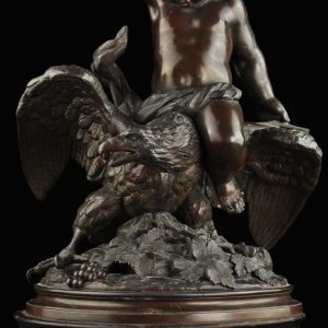 "Antique Bronze figure  ""Child with an eagle"""