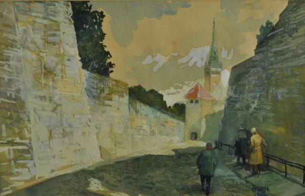 """Viktor Turp (1905-1989) guašš """"Tallinn"""" 1966a"""