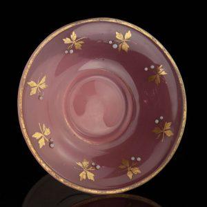 Antique gilt milk and pink glass centerpiece