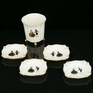 Art Deco porcelain cigarette cup with 4 ashtrays