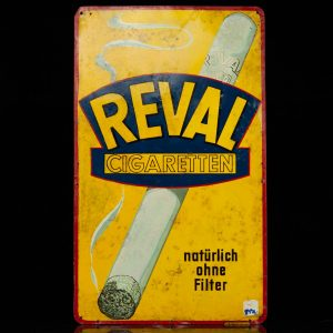 "Antique  Advertisement sign , tin, handpainted ""Reval Cigaretten"""