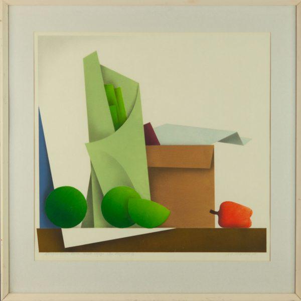 """Avo Keerend (1920-2012) värviline kõrgtrükk """"Kompositsioon kolme värvilise viljaga 1985a"""