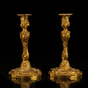 Pair of 19th century antique bronze candlesticks