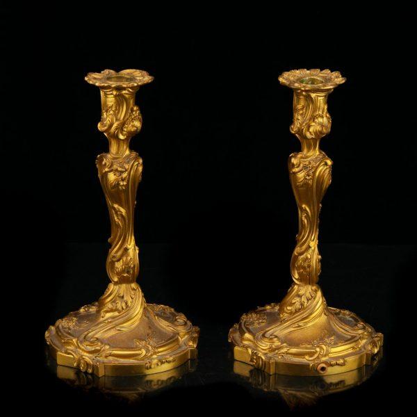 Pair of 19th century antique bronze candlesticks