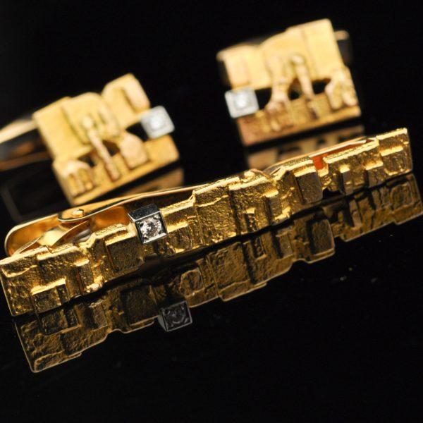 Lapponia mansetinööbid ja lipsu nõel 585 kuld briljandid