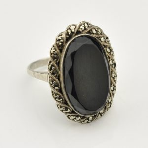 Antique 813 silver ring with onyx