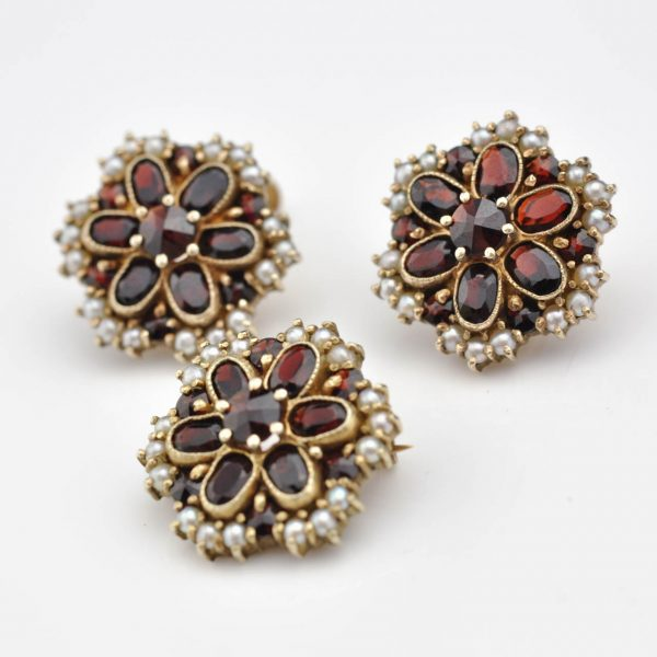 Antique brooch and earrings, 830 silver gilt, garnets, pearls