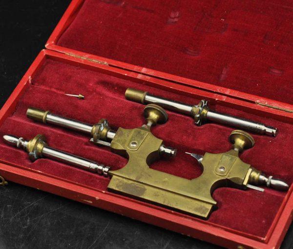 Antique clocksmith tool set with original box