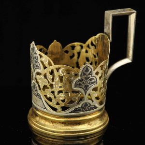 Soviet Russian tea glass holder, 875 silver with niello