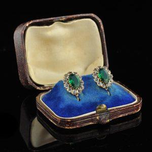 Tsaari-Vene kõrvarõngad, 56 kuld, rohelised kivid
