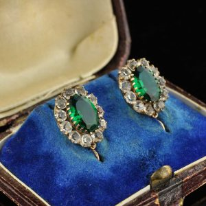 Antique Imperial Russian 56 gold earrings , green stones
