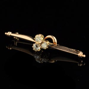 Antique 583 gold  brooch , 3 diamonds