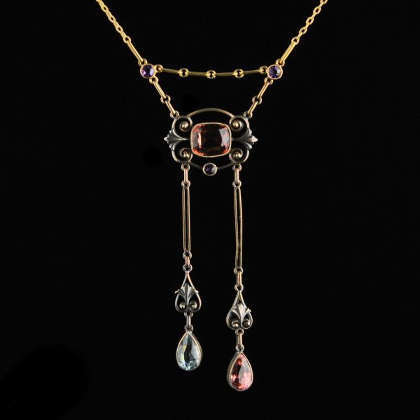 Antique Imperial Russian 56 gold necklace with tourmaline, amethyst and aquamarine