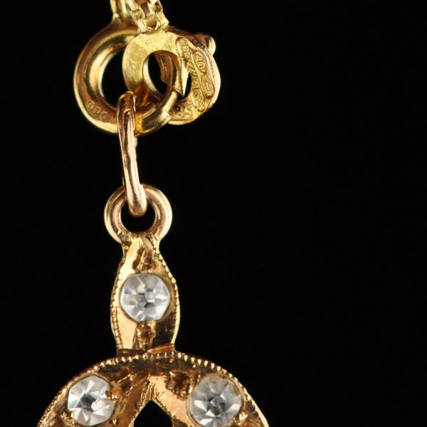 Antique 583 gold pendant with sapphires